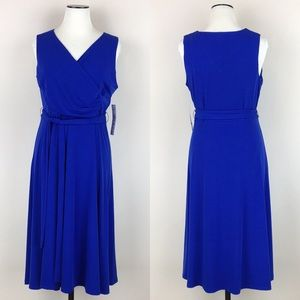 Tiana B Blue Surplice Sleeveless A-line Dress NWT